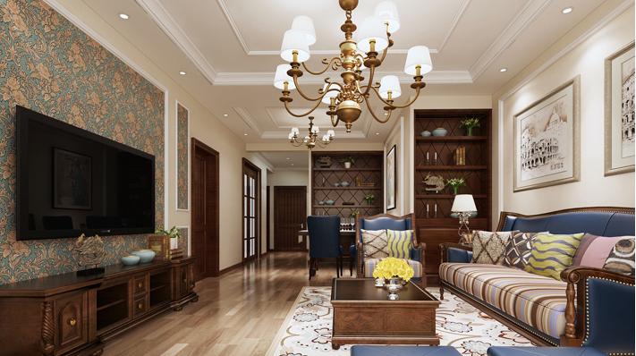重庆旧房装修案例_118平米美式风格装修效果图46.