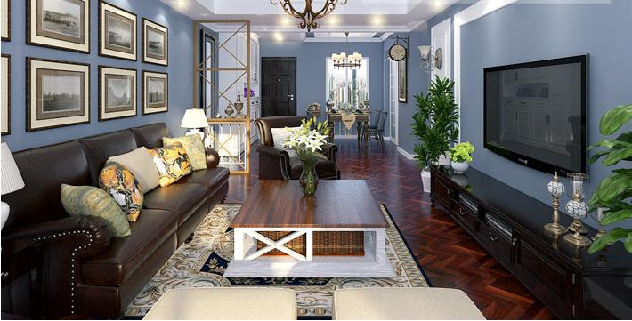 重庆旧房翻新案例_150平米美式风格装修效果图75.