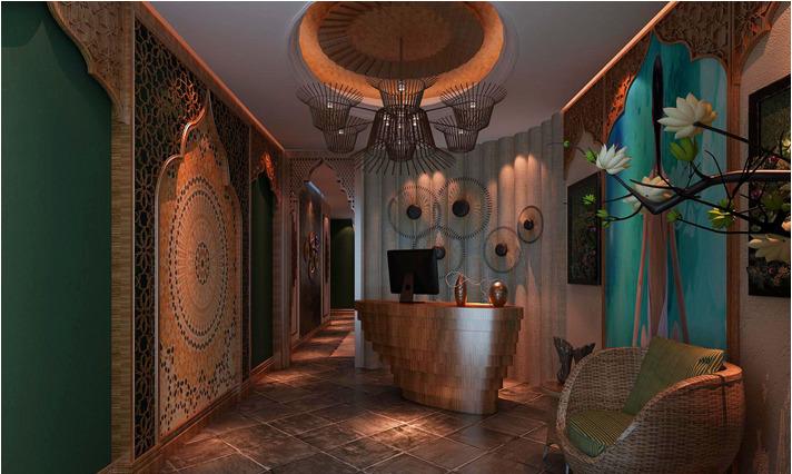 300平米会馆东南亚风格效果图