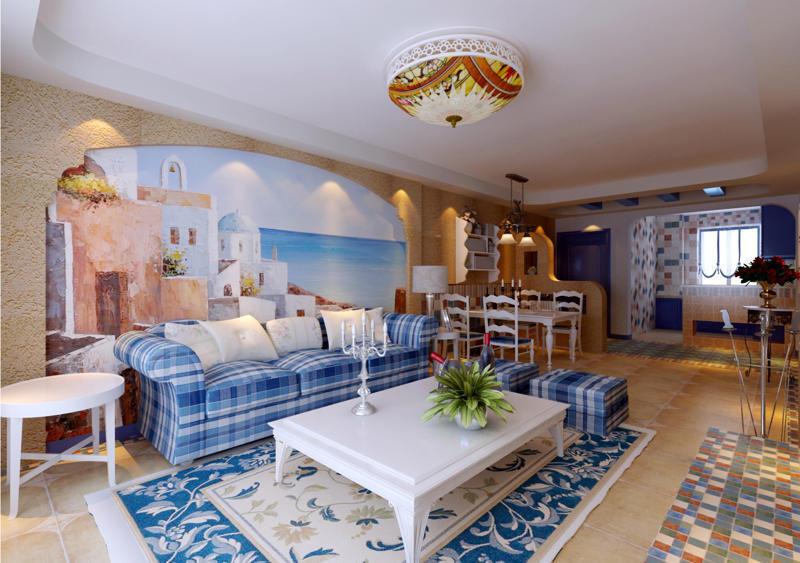 重庆新房装修案例_112平米地中海风格装修效果图85