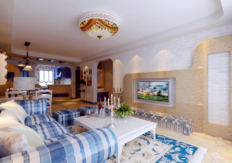 重庆新房装修案例_112平米地中海风格装修效果图78