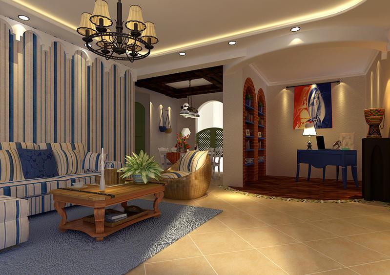 重庆新房装修案例_160平米地中海风格装修效果图11