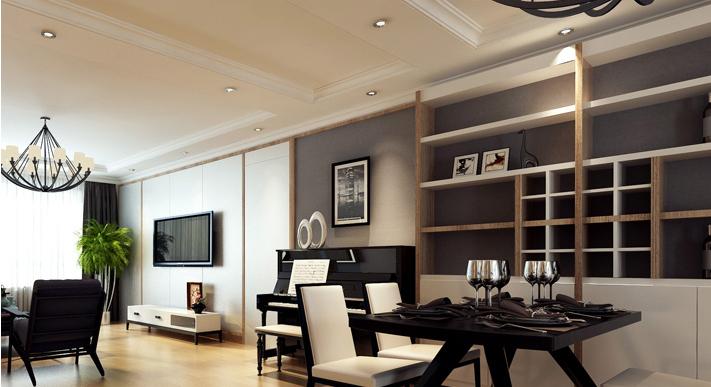 重庆新房装修案例_154平米小美式风格装修效果图54.