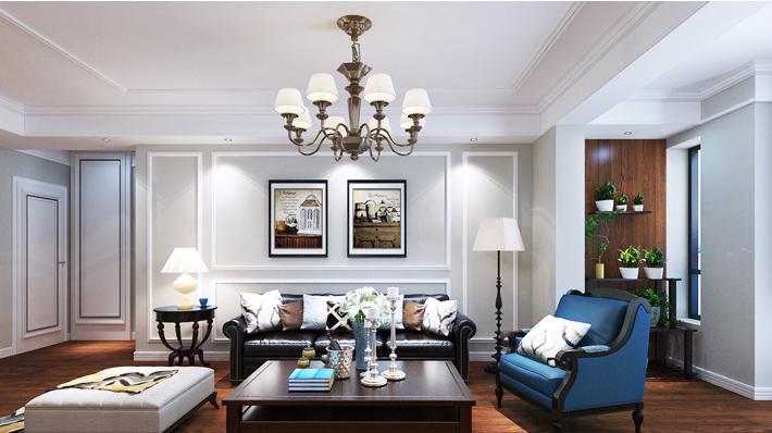 重庆新房装修案例_148平米美式风格装修效果图004.