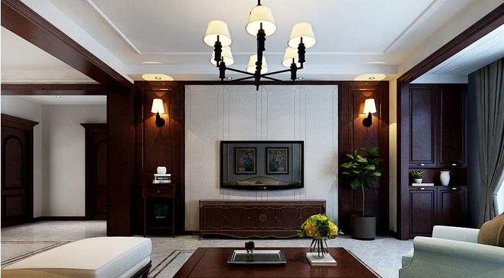 重庆新房装修案例_120平米美式风格装修效果图61.