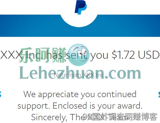国外调查赚美元网站15发了N个1.72美元paypal