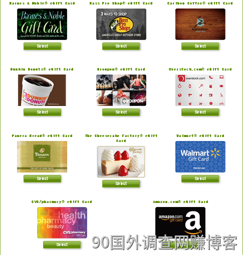 Virtual Reward Center发的链接形式的奖励同样可兑换各种在线礼品卡。