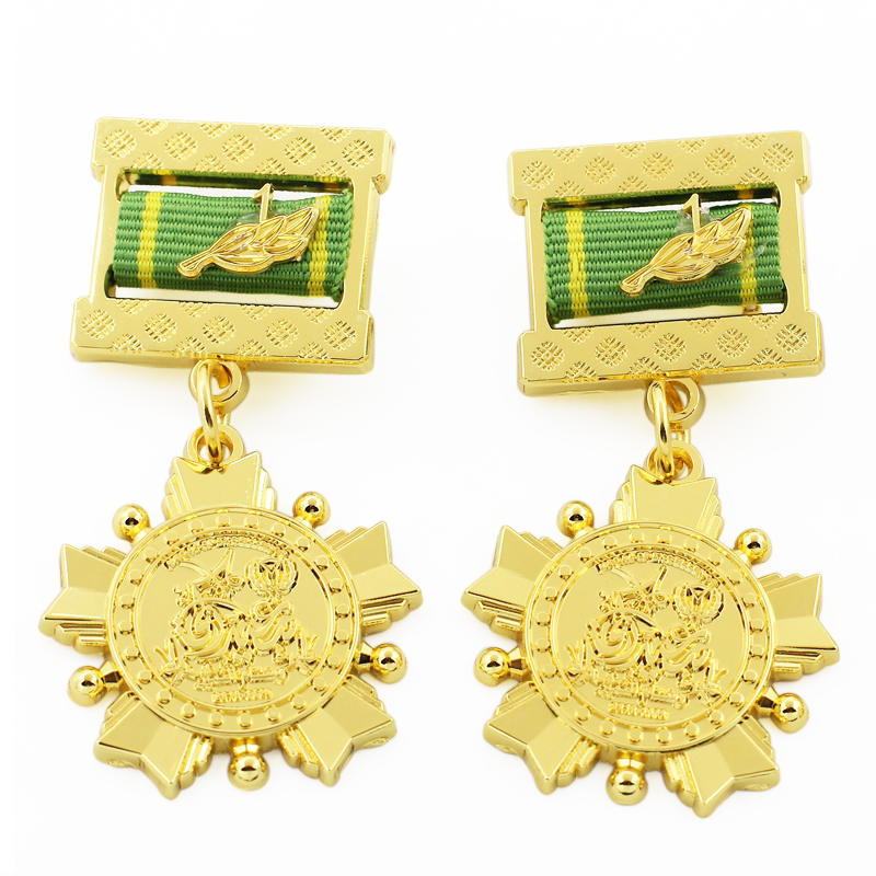 Wholesale Custom Metal Army Military Style Military Medals Ribbon