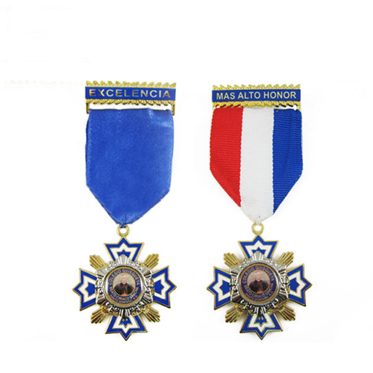 Promotion Free Sample Cheap Custom Neck Short Ribbons Service Medal, Honor Medal
