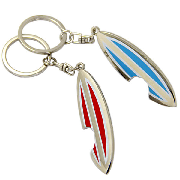 High quality metal surfboard bottle opener keychain from manufacturer in China