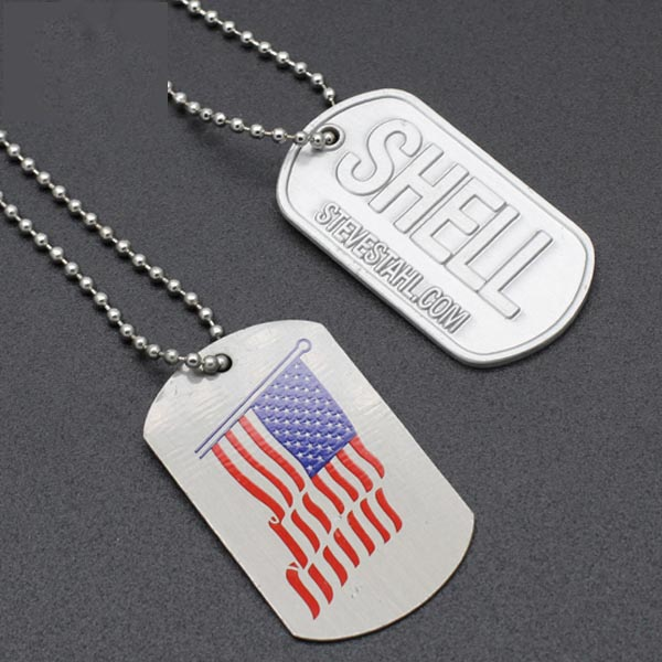 Wholesale Personalized Custom Army Aluminum Dog Tag with chain