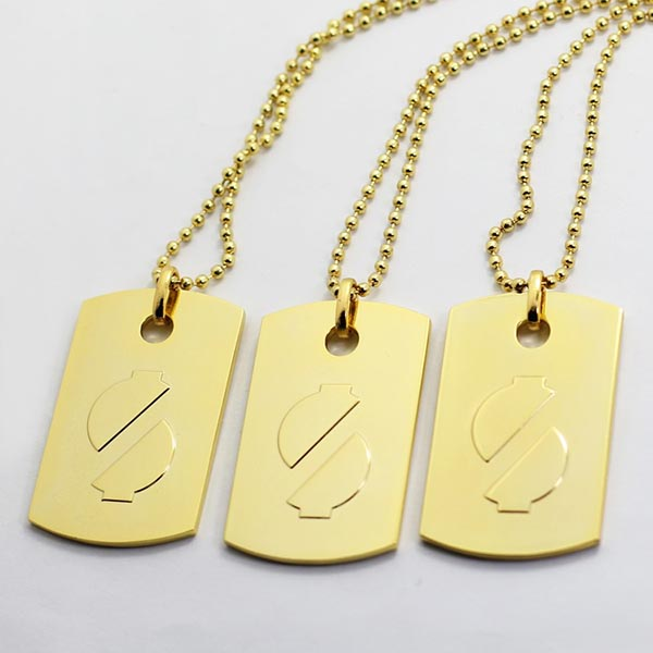 Wholesale Custom Metal Laser cut Engraved Necklace Dog Tag with chain