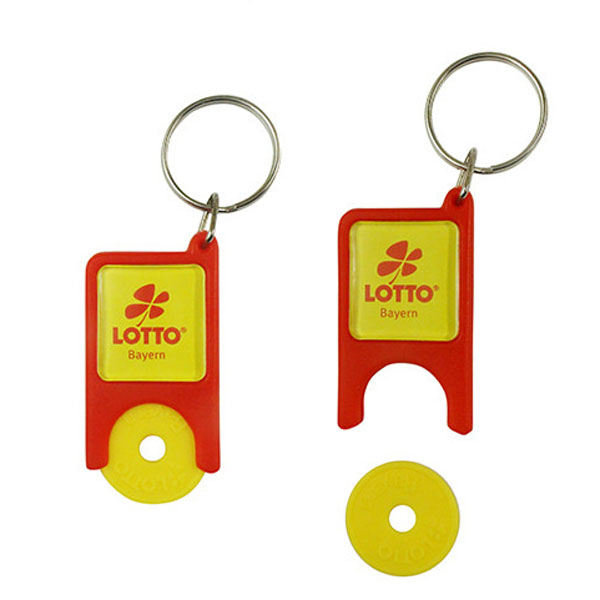 Wholesale Keychain keyring with Plastic  trolley coin holder from trolley coin factory
