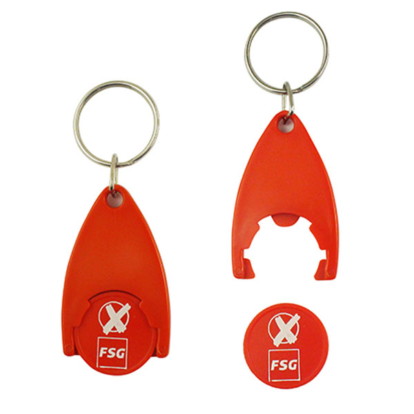 Wholesale personalised plastic trolley coin keychain coin keyring  from trolley coin factory