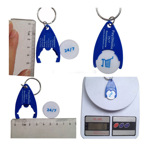 Wholesale sourenier screen print plastic trolly coin keychain