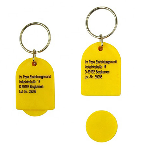 Promotion Custom Cheap Plastic Euro Token Shopping Cart Token Trolley Coin Keychain