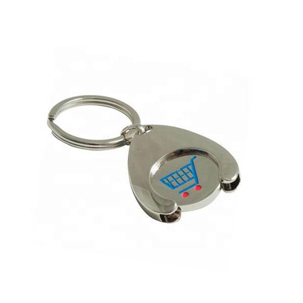 Custom Made Cheap Zinc Alloy Wishbone Trolley Coin Holder Keychain
