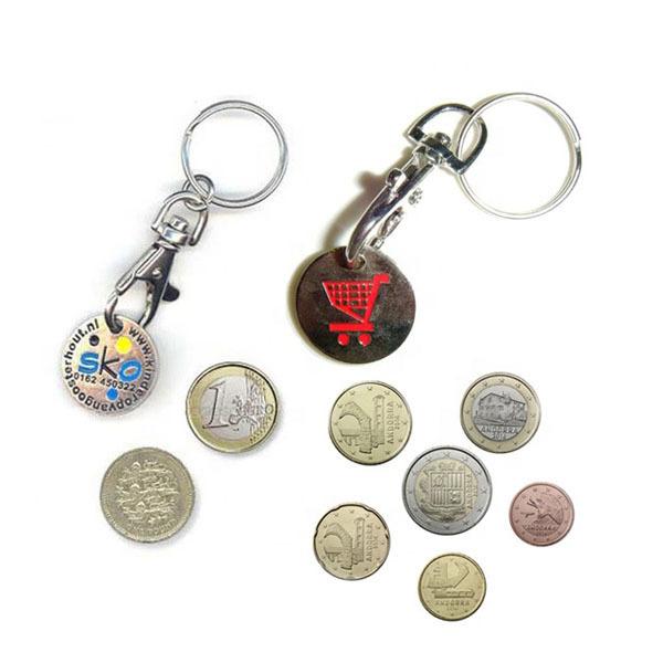 Custom metal euro coin supermarket shopping cart token trolley coin