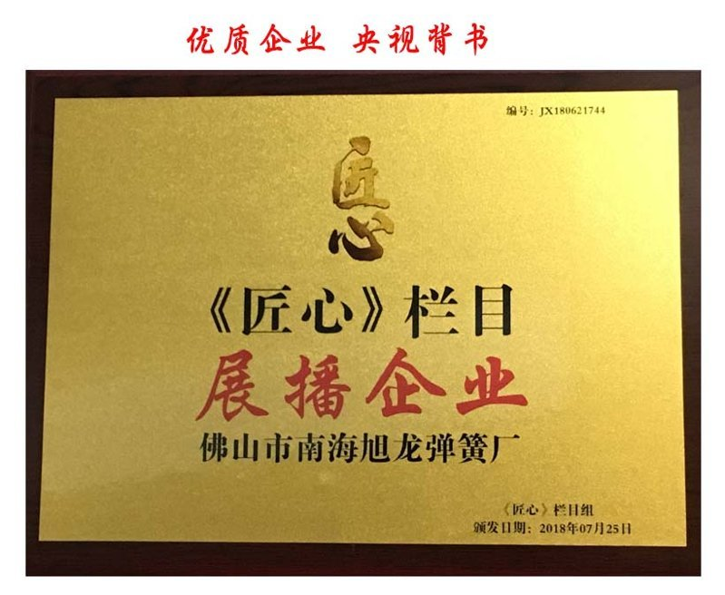 央视匠心栏目推荐的拉簧生产厂家-佛山旭龙弹簧厂