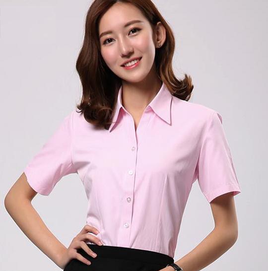 广安工装衬衣定制,女士短袖衬衫,修身白衬衣定制