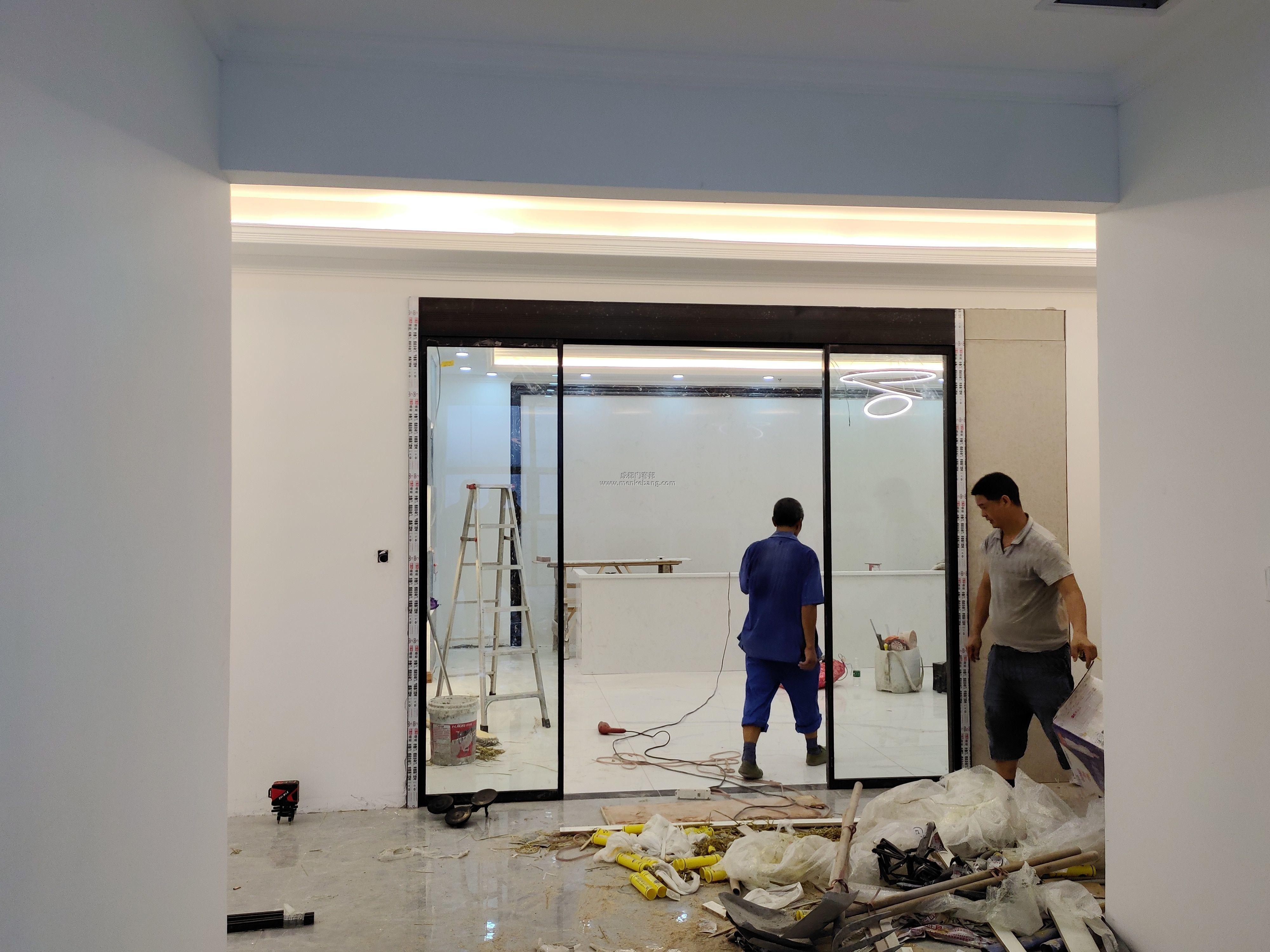 成都铝合金型材感应门安装案例