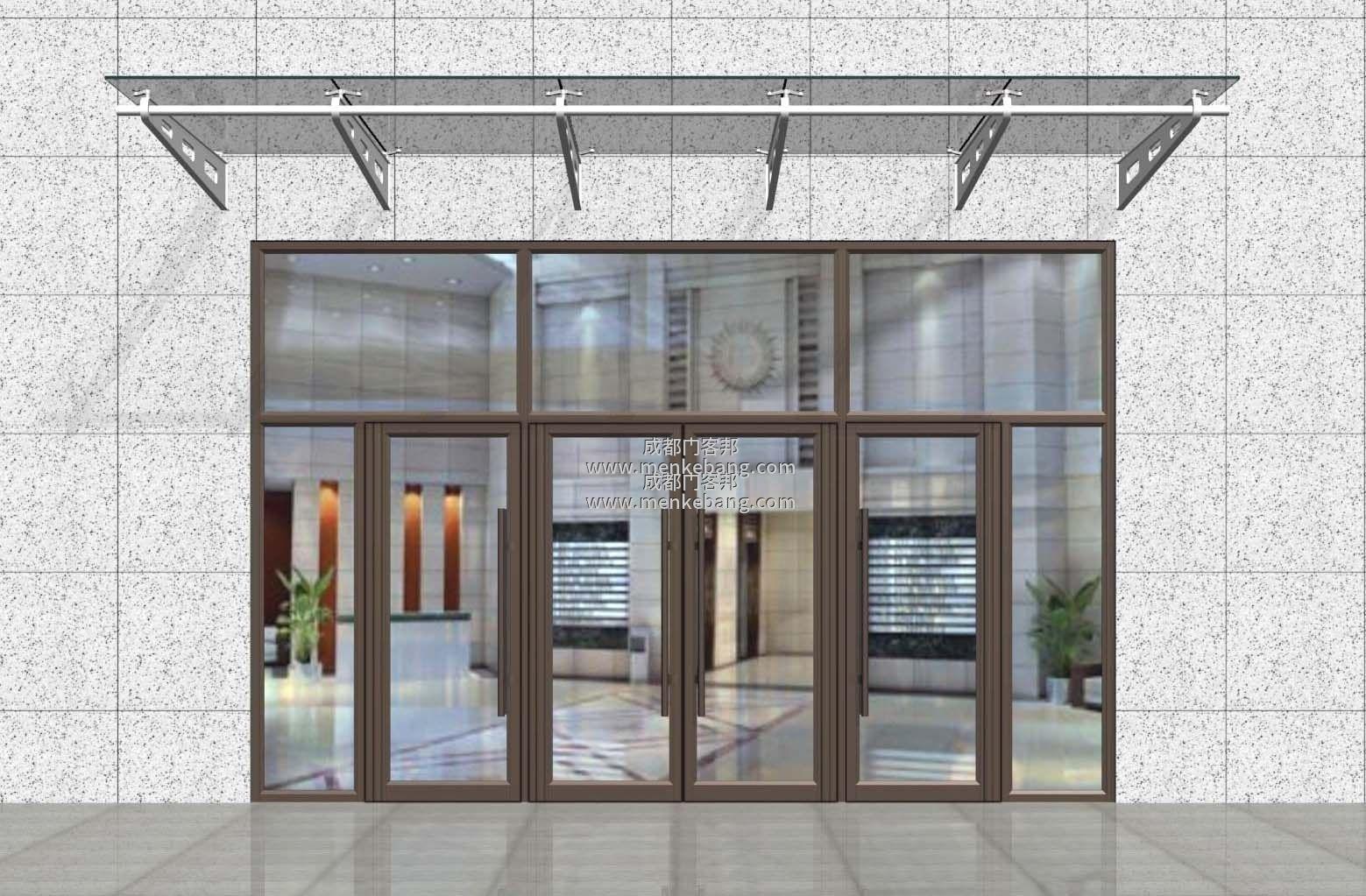 成都钢化玻璃门,不锈钢玻璃门案例图