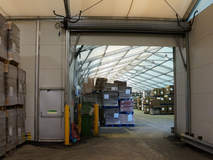 Corrugated packaging warehouse tent