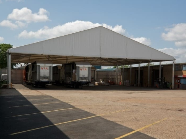 Distribution center transfer warehouse tent