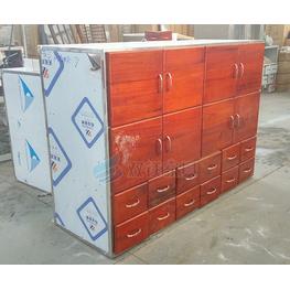 实木面板不锈钢中药柜