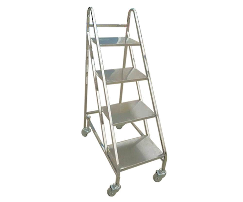 不锈钢图书馆四步书梯