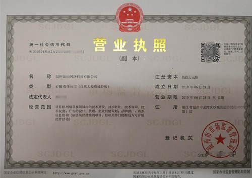 溫州網絡公司公司注冊登記-溫州渝墊網絡科技有限公司