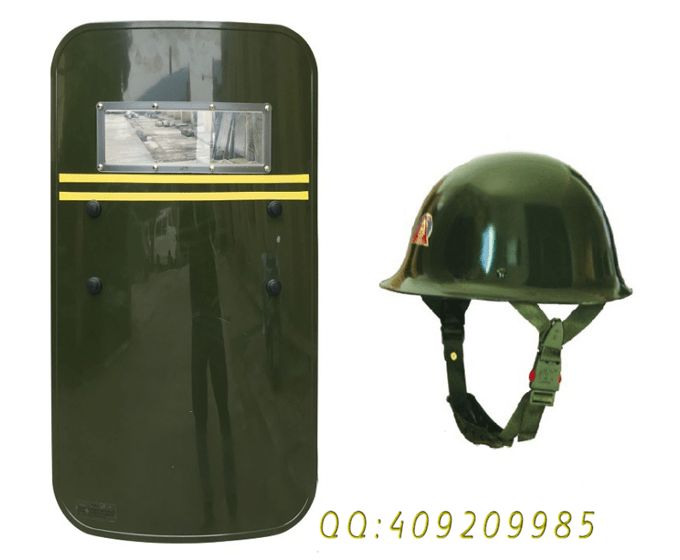 PC防爆盾牌 軍綠色防身盾牌 保安頭盔