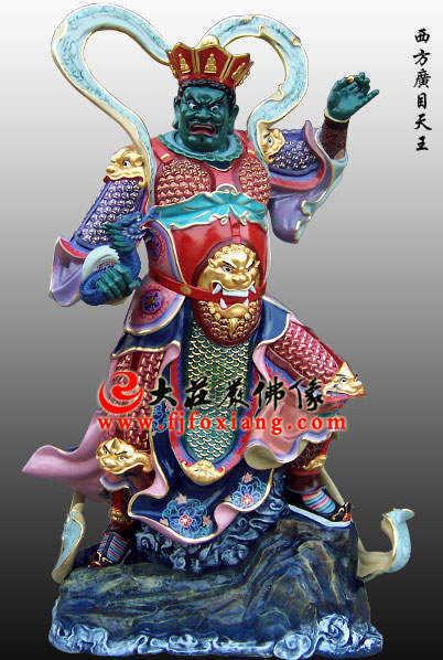铜雕彩绘广目天王