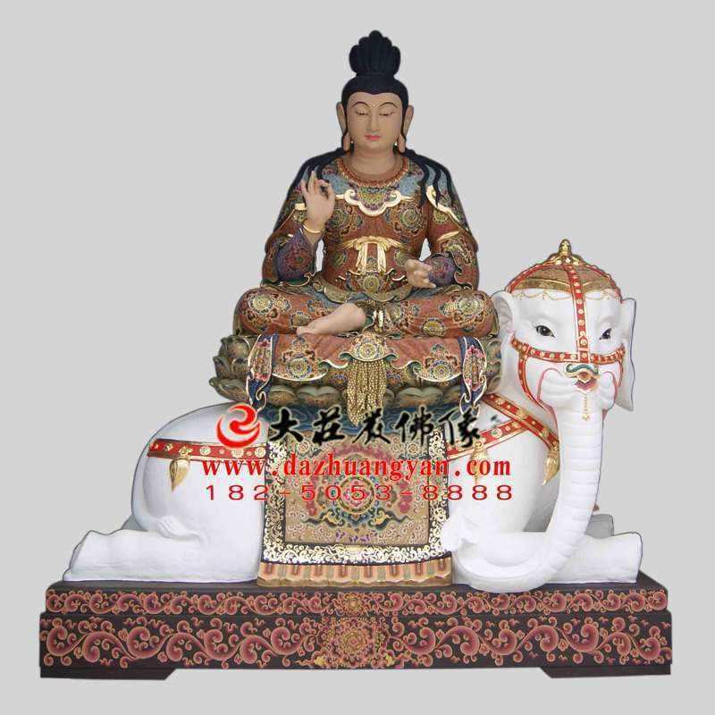 铜雕普贤菩萨彩绘像