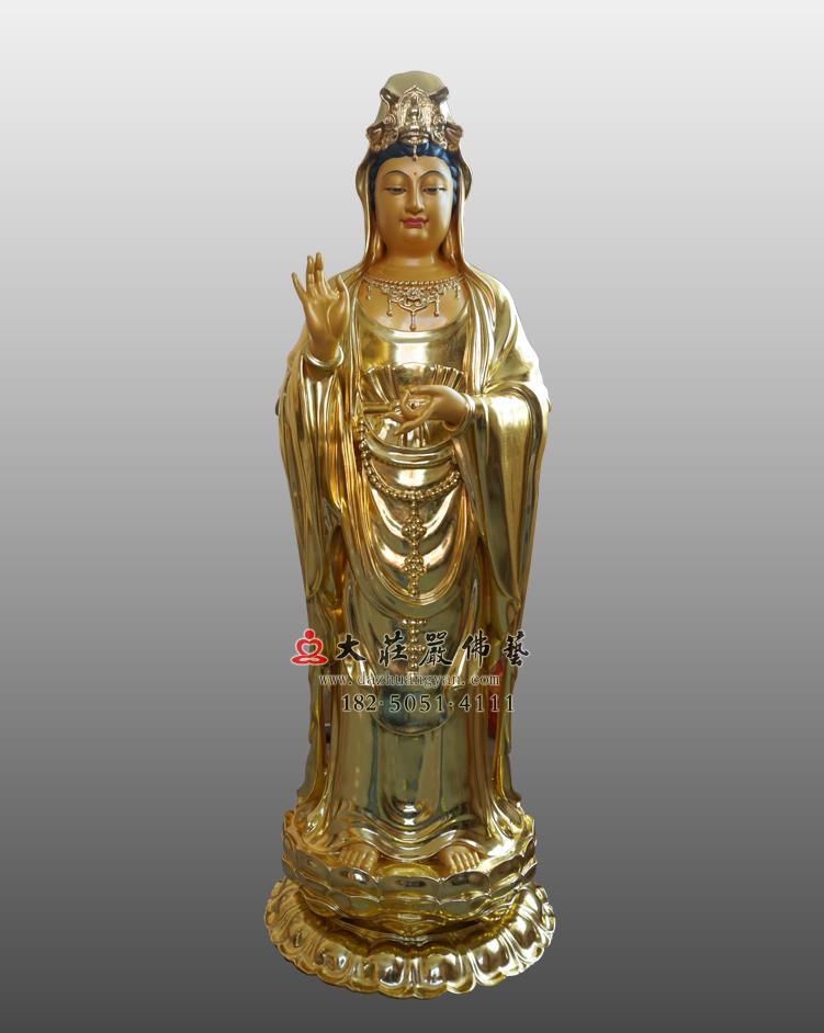 铜雕观世音菩萨贴金佛像