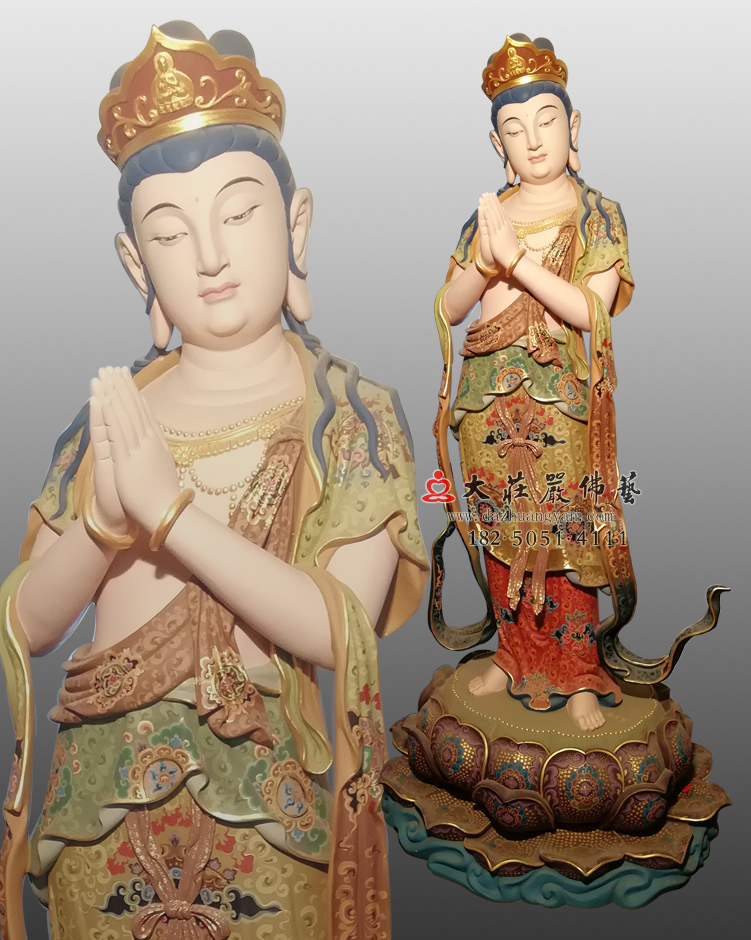铜雕八大菩萨-观世音菩萨彩绘左侧
