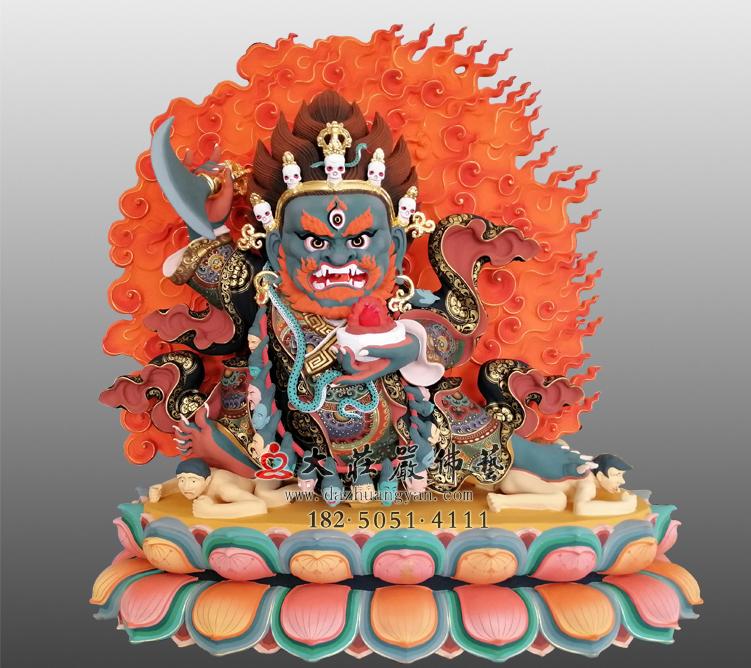 铜雕玛哈嘎拉彩绘塑像