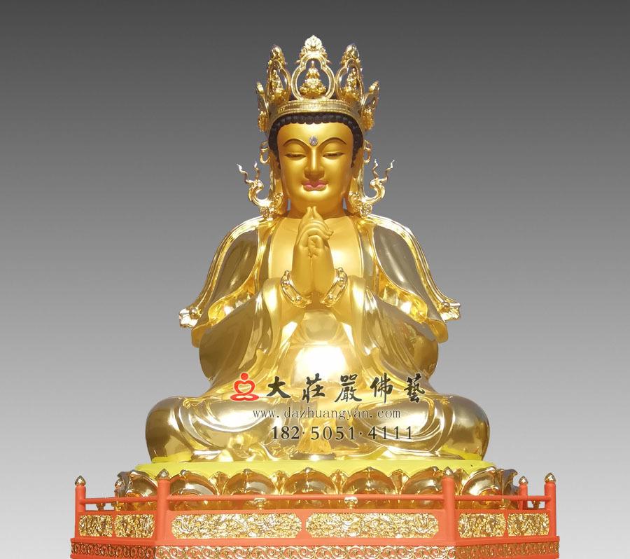 铜雕三宝佛之释迦牟尼佛正面近照