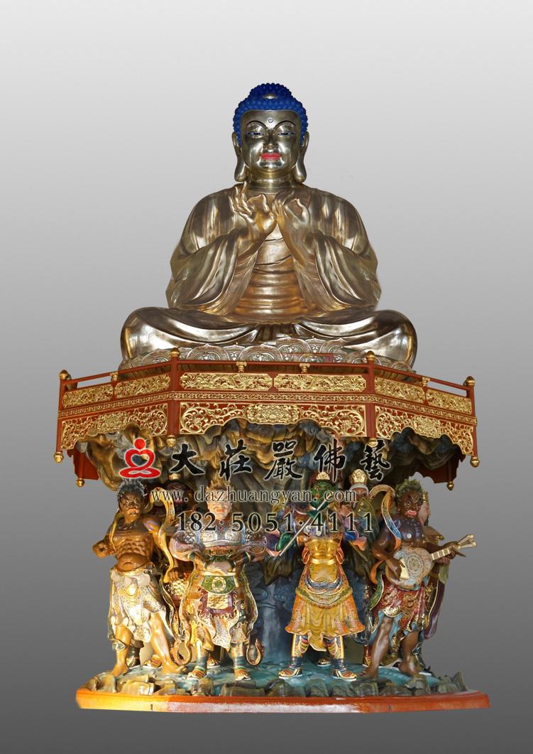 铜雕一佛二弟子之释迦牟尼佛