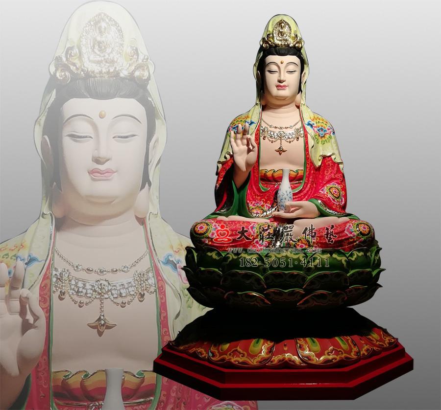 铜雕观世音菩萨彩绘描金佛像
