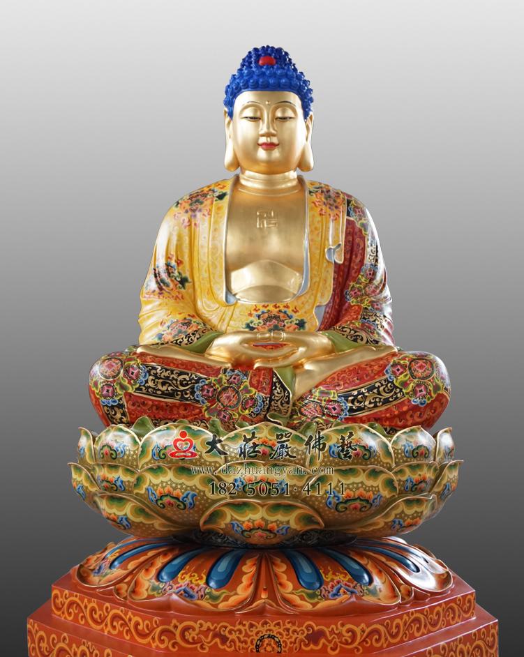 铜雕释迦牟尼佛彩绘佛像