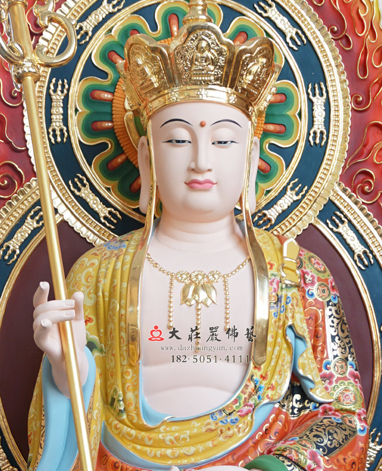 铜雕彩绘描金地藏王菩萨
