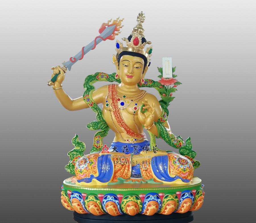 铜雕文殊菩萨彩绘贴金佛像