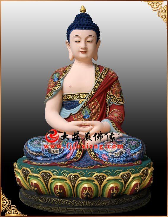 铜雕三宝佛之药师佛塑像正面整体实拍图
