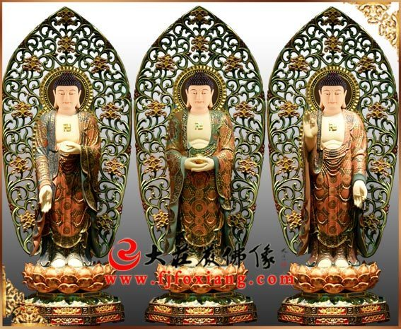 铜雕三宝佛彩绘描金佛像