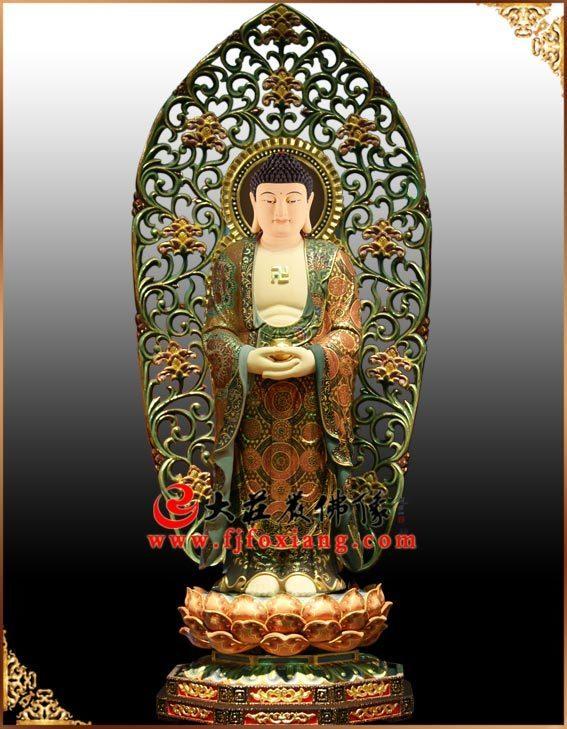 铜雕彩绘三宝佛之药师佛塑像