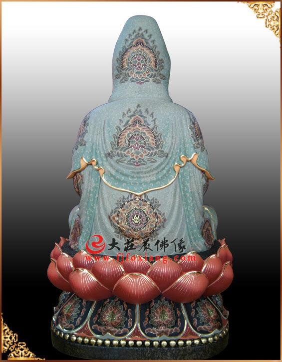 背部观音菩萨彩绘铜像