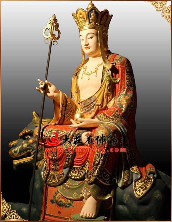 地藏王菩萨侧面铜像实拍彩绘像