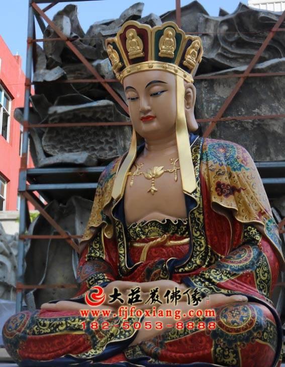彩绘铜像地藏王菩萨侧面工厂实拍