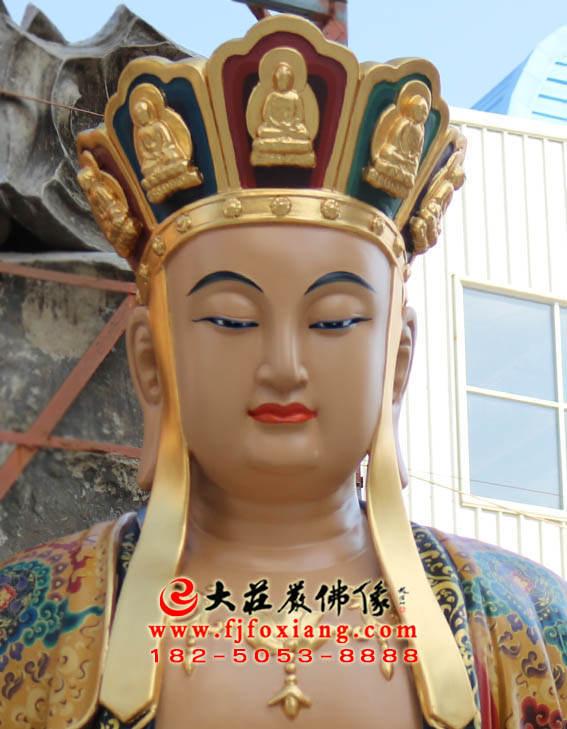 彩绘铜像地藏王菩萨正面局部特写